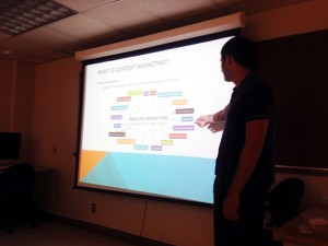 Student Jake Ehrnstein takes us through the elements of Content Marketing during his final presentation on Mon. night.