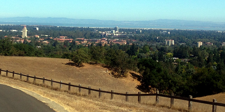 Taking in my new home base (for the next 10 months) from atop the Stanford Dish.