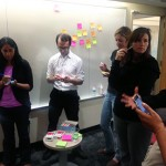 Knight fellows brainstorming on journalism's future sustainability.