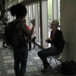 Kiana Fitzgerald grabs an interview in the hallway during SXSW 2012.