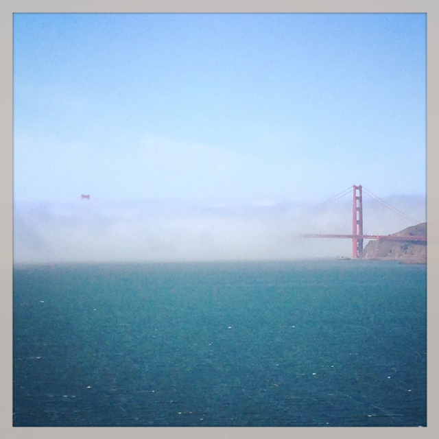 A foggy view of Golden Gate Bridge from Angel Island.